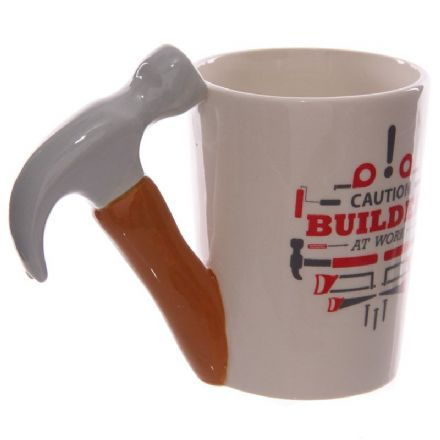 "Hammer Shaped Handle ""Caution Builder at Work"" Mug"